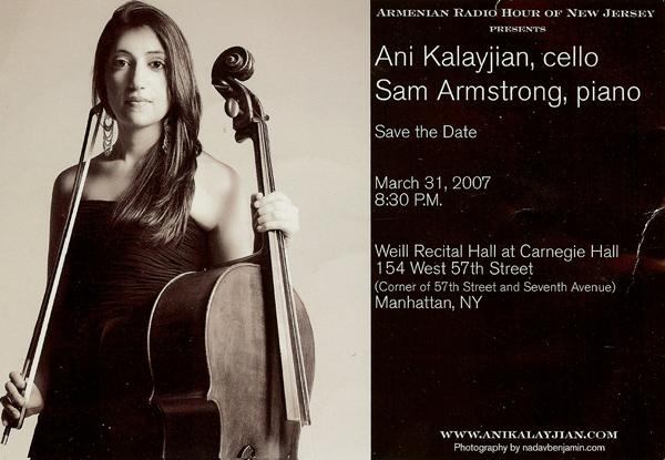 Ani Kalayjian's flyer on upcoming event