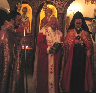 From left to right: Father Aram Deyirmendjian, Senior Deacon Antranig Hajibalian and Archbishop Goriun Babian.