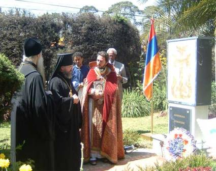 Archbishop Augustin in front of Armenian Genocide Memorial in Addis Ababa, Ethiopia