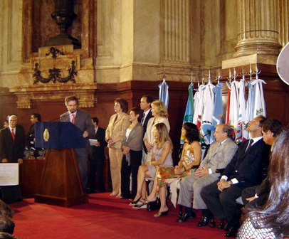 Pedro Mouratian delivers his speech in the Senate Blue Hall in Buenos Aires