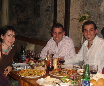 Arman Davitian and wife Lilit with Azad-Hye representative Carlos