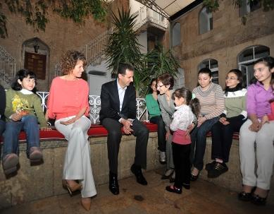 President Al Assad visits the Armenian Orphanage in Aleppo