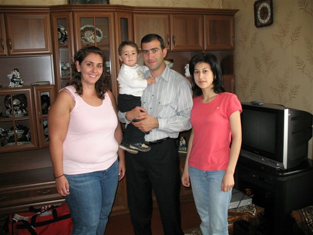 Volunteer Elyssa Karanian is met upon her arrival in Gyumri with a warm welcome from her homestay family, the Akimyans.