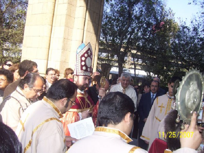 Hrashapar entrance to the Church, Bishop Ashod Mnatsaganian heads the procession