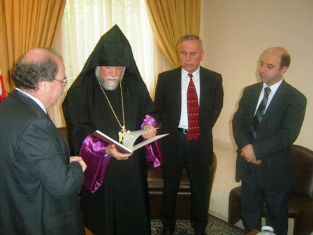 Aram Catholicos and Reverend Karagoezian of Evangelical Armenians