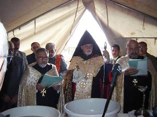 Blessing of foundation for new Armenian Church in Northern Iraq (city of Duhok)