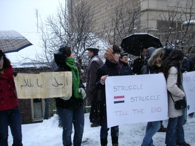 Demonstrations in front of the Egyptian Embassy in Yerevan