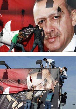 Erdogan's picture is torn down in Beirut