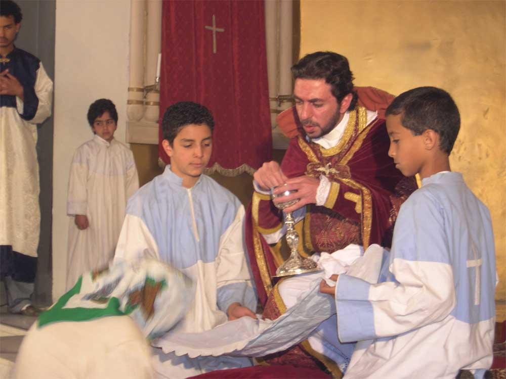Father Myron celebrates the Holy Communion