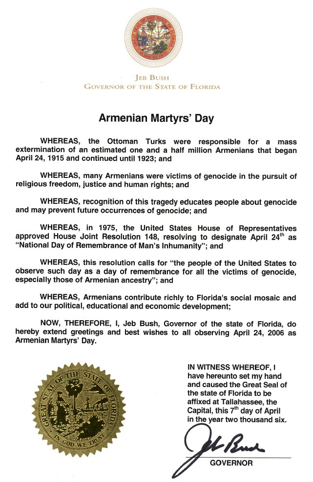 FLORIDA PROCLAMATION ON THE ARMENIAN GENOCIDE