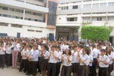 Students follow the speech of Mr. Sharabkhanian