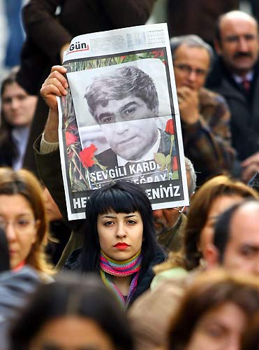 At the funeral of Hrant Dink