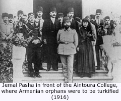 JEMAL PASHA WITH ARMENIAN ORPHANS IN AINTOURA LEBANON