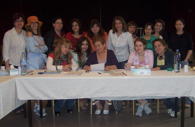 With teachers and friends of the school