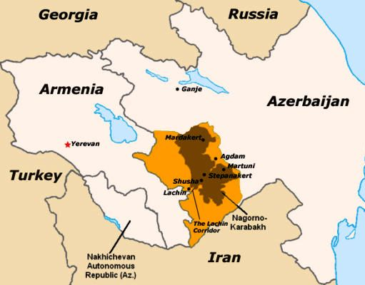 Map of Nagorno Karabagh and adjacent areas