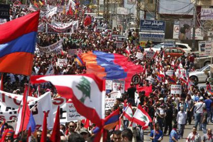 Armenian-Lebanese protest outside Turkish embassy