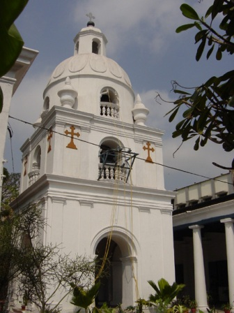 The famous bell-tower of the Madras Armenian Church