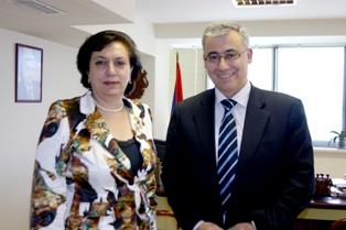 Minister Hranush Hakobian with Hrach Kalsahakian