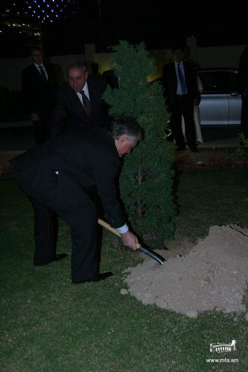Planting a tree at the Embassy's coutyard