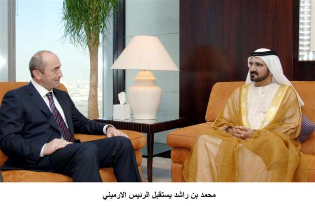 Kocharian discusses bilateral relations with Sheikh Mohammed bin Rashid, Ruler of Dubai.