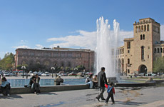 A spotlit view in Yerevan