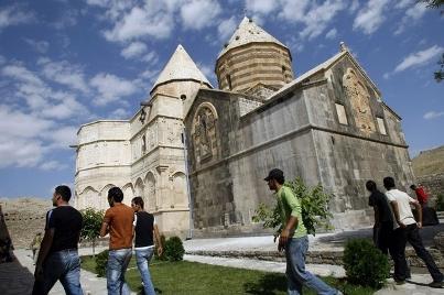 Scaffolds defacing historical Iranian church