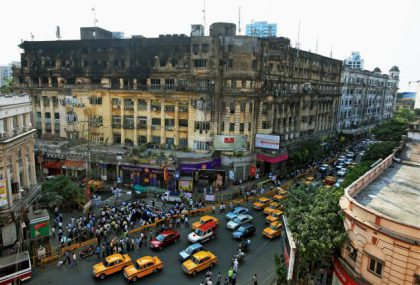 Stephen Court historical building in Kolkata caught on fire