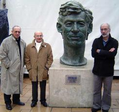 In front of the sculpture of Herge, the creator of Tintin