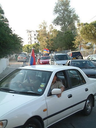 ARMENIANS CELEBRATE ELECTION VICTORY IN THE STREETS OF NICOSIA
