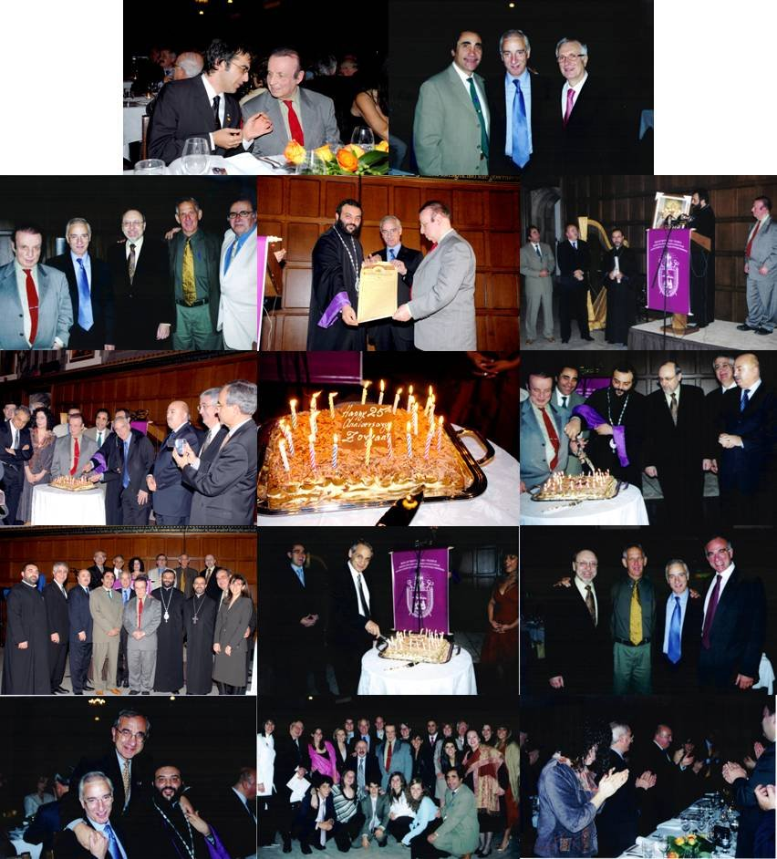 25th anniversary cake and group photos at Zoryan Institute